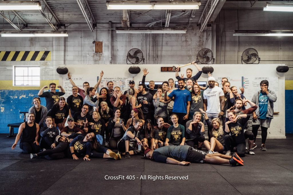 Group photo of athletes at CrossFit 405